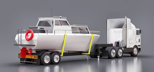 Een grote witte vrachtwagen met aanhanger voor het vervoeren van een boot op een grijze ondergrond