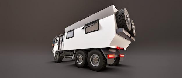 Een grote witte vrachtwagen op een grijze achtergrond, voorbereid op lange en moeilijke expedities in een afgelegen gebied. vrachtwagen met een huis op wielen. 3d-illustraties.