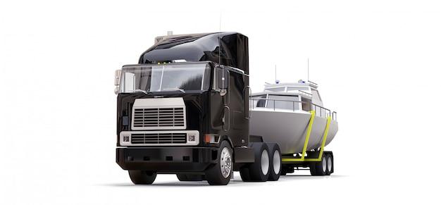 Een grote zwarte vrachtwagen met een aanhangwagen voor het vervoeren van een boot op een witte achtergrond