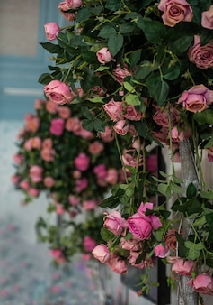 Een haag versierd met roze rozen. natuurlijke bloemen.