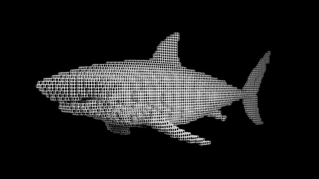 Een haai gemaakt van vele blokjes op een zwart uniform