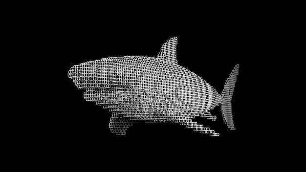 Een haai gemaakt van vele kubussen op een zwarte uniforme achtergrond. constructeur van kubieke elementen. kunst van de wilde dierenwereld in moderne performance. 3d-rendering.