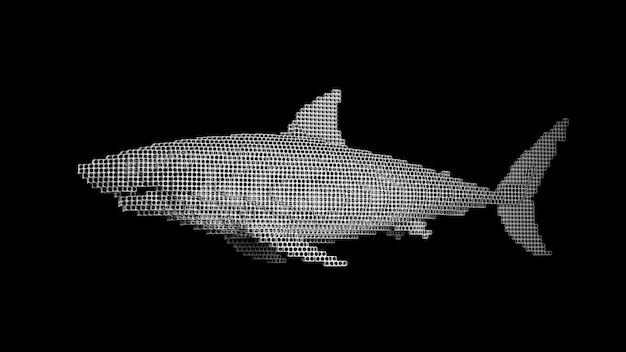 Een haai gemaakt van vele kubussen op een zwarte uniforme ruimte. constructor van kubische elementen. kunst van de wilde dierenwereld in moderne uitvoering. 3d-weergave.