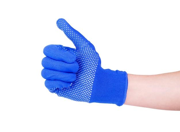 Een hand die handschoen draagt met actiegebaar