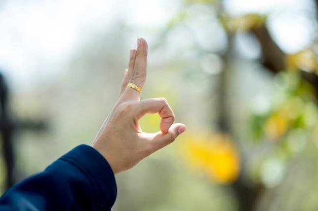 Een hand die liefde toont aan geliefden op de dag van liefde. liefdesdag met kopie ruimte