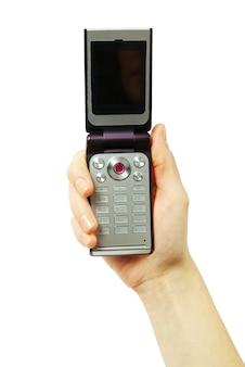 Een handen met een mobiele telefoon voor ondersteuning