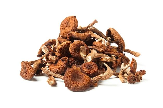 Een handvol gedroogde paddenstoelen geïsoleerd op een witte achtergrond