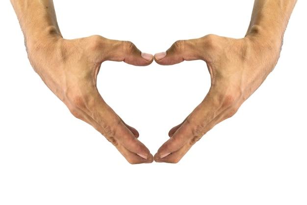 Een hartvorm maken met het handsymbool