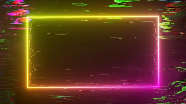 Een helder neonframe schittert met een neonspectrum tegen een waterachtergrond. 3d-afbeelding