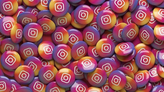 Een heleboel 3d instagram glanzende pillen in een close-up bekijken