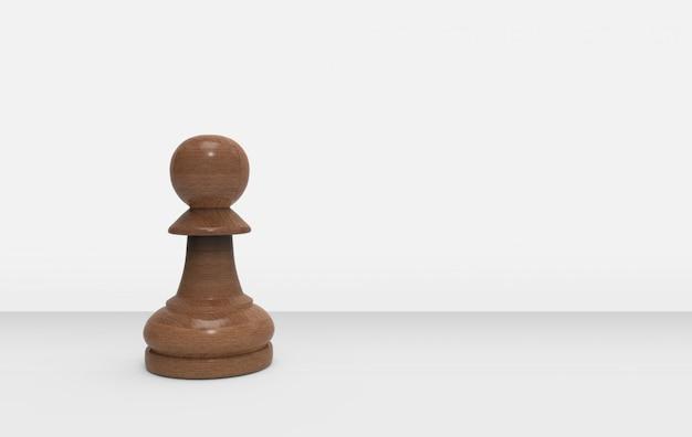 Een houten pandschaak op grijze achtergrond.
