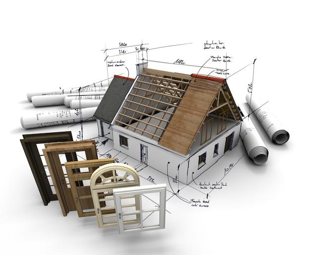 Een huis in aanbouw, met blauwdrukken en een selectie van ramen en deuren