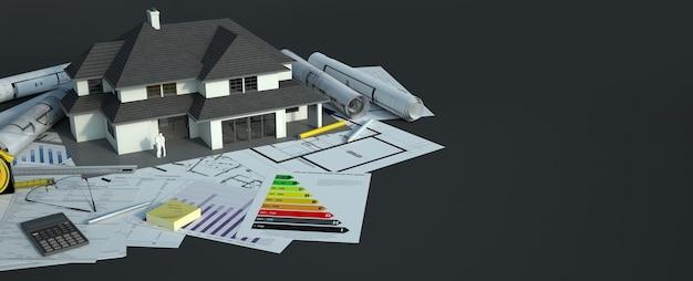 Een huismodel met een gezin bovenop blauwdrukken, energie-efficiëntiekaarten en andere documenten