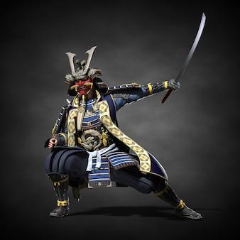 Een japanse samoerai met een getrokken zwaard. 3d illustratie