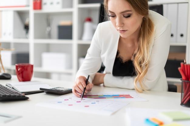 Een jong meisje zit aan een computerbureau op kantoor, houdt een potlood in haar hand en werkt met grafieken en diagrammen.