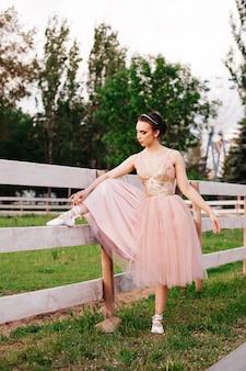 Een jonge elegante ballerina zet haar voet op een houten hek en knoopt linten aan spitzen in de pa...