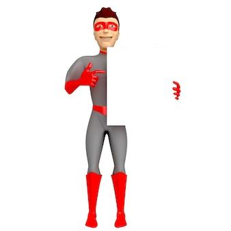 Een jonge glimlachende man in een superheldenkostuum houdt zijn hand vast en wijst met zijn andere hand naar een leeg bord. 3d illustratie