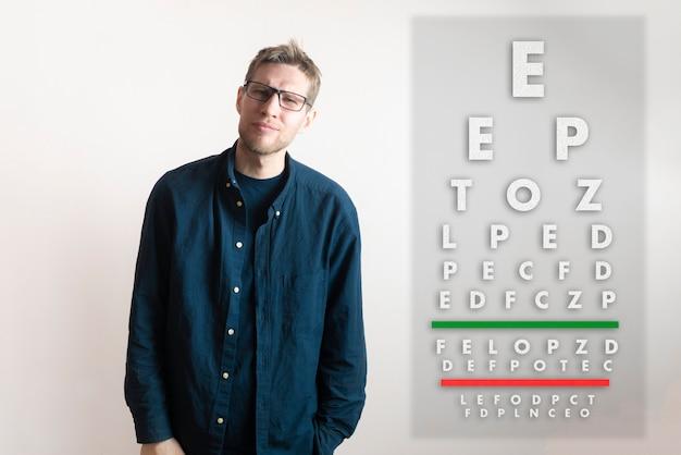 Een jonge man controleert het gezichtsvermogen, onderzoekt de gezondheid met de kaart met testbrieven
