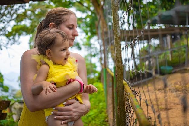Een jonge moeder houdt een schattige peuter in haar armen en kijkt over het hekwerk in de dierentuin. ruimte kopiëren.