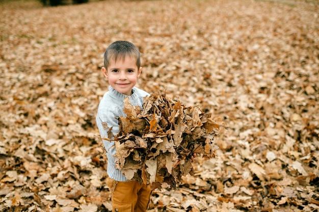 Een jonge schattige jongen poseren met bladeren