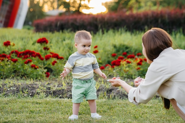 Een jonge schattige moeder helpt en leert haar zoontje zijn eerste stappen te zetten tijdens zonsondergang in het park op het gras.