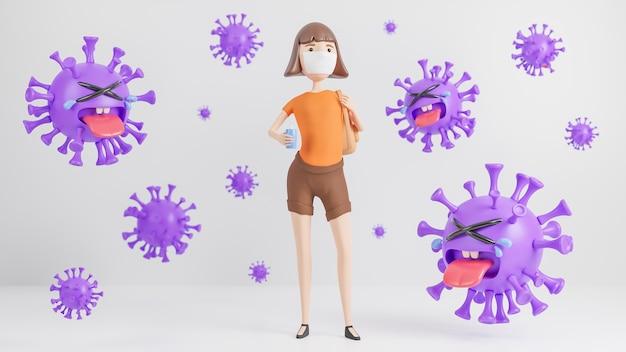 Een jonge vrouw die een medisch masker draagt en een handwasalcoholgel vasthoudt, omgeven door een schattig paars coronavirus