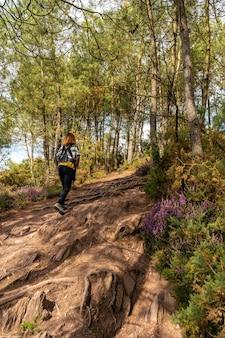 Een jonge vrouw op het pad in het bos van broceliande, een frans mystiek bos in het departement ille-et-vilaine, bretagne, in de buurt van rennes. frankrijk