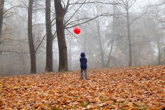 Een jongen die in de herfst met een rode ballon loopt, somber weer in het park met een heldere ballon, uitzicht vanaf de achterkant.