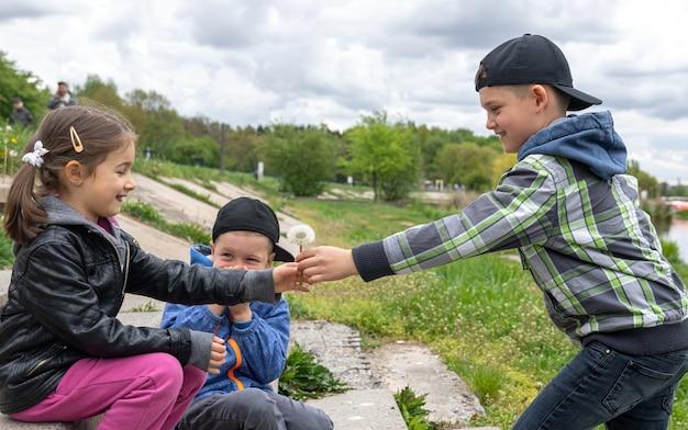 Een jongen geeft een klein meisje een paardenbloem in de natuur.