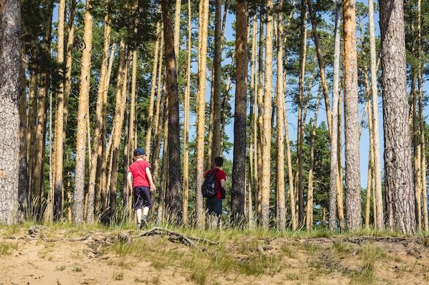 Een jongen in een rood t-shirt met zijn vader reist door een dennenbos