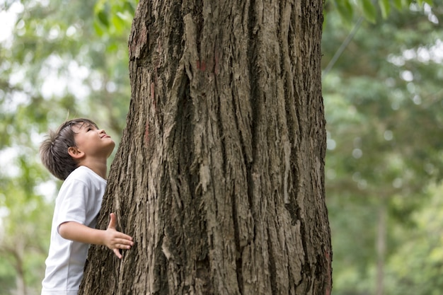 Een jongen staat een grote boom te knuffelen en omhoog te kijken naar de boom. vervuilingsprobleem.