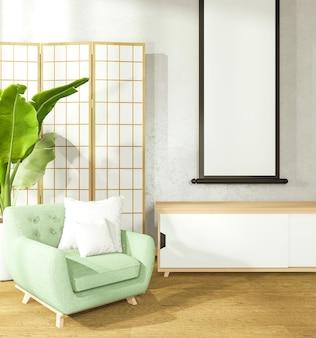 Een kamer in japanse stijl verfraaien die bestaat uit een fauteuil en een kast. 3d-weergave