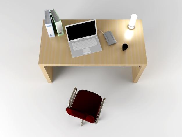Een kantoorwerkplek. 3d teruggegeven illustratie.