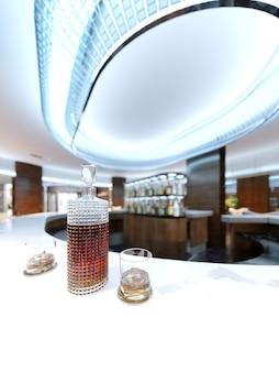 Een karaf met alcohol en twee glazen op een wit marmeren aanrecht. 3d-rendering.