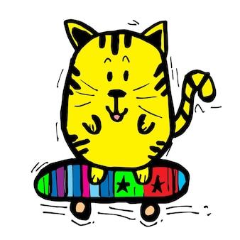 Een kat die skateboard cartoon met de hand speelt, doodle stripfiguur