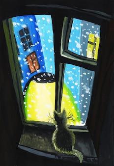 Een kat zit op een raam en kijkt uit op de straat terwijl een lantaarn schijnt en sneeuw valt, het beeld