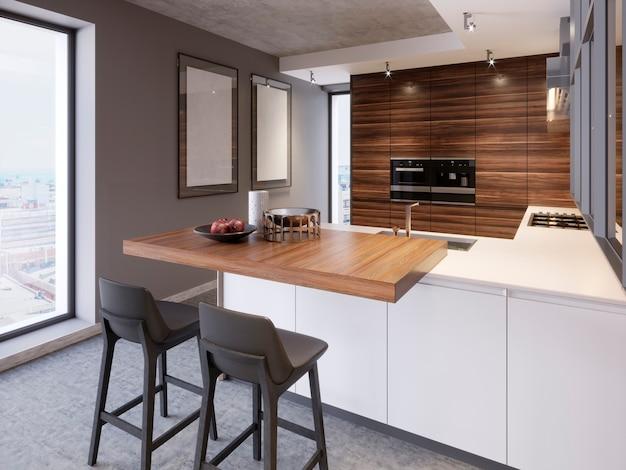 Een keuken met een kookeiland met twee stoelen in een moderne keuken, de stijl van eigentijds en modern keukenmeubilair. 3d-rendering.
