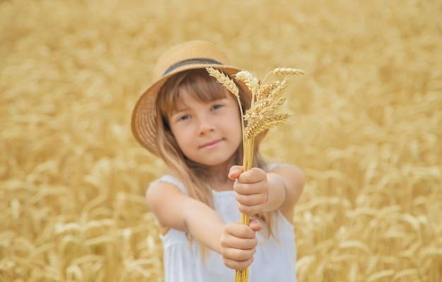 Een kind in een tarweveld.