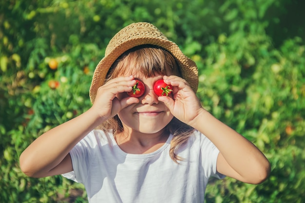 Een kind in een tuin met tomaten