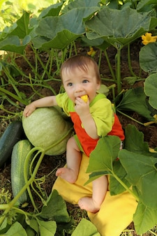 Een kind zit in de zomer tussen courgette en pompoenen in de natuur.