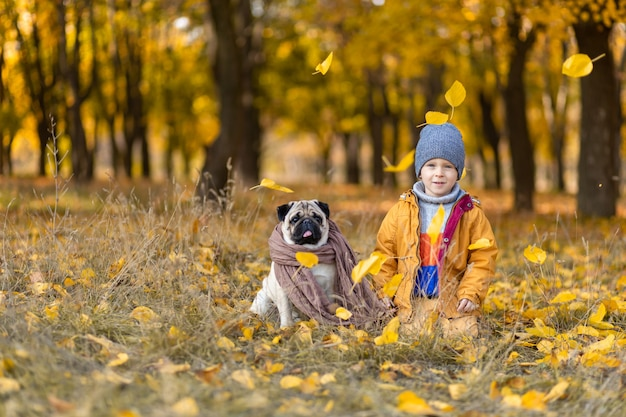Een kind zit in gevallen gele bladeren met een mopshond in het herfstpark. vrienden van kinds af aan