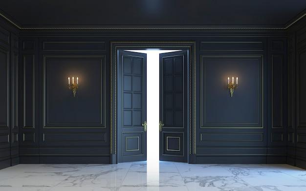 Een klassiek interieur is in donkere tinten. 3d-rendering.