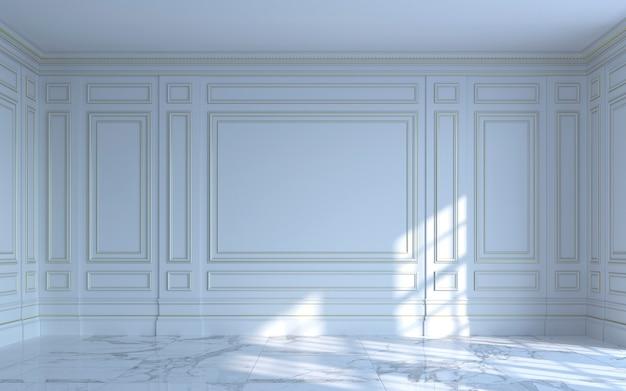Een klassiek interieur is in lichte kleuren. 3d-rendering.