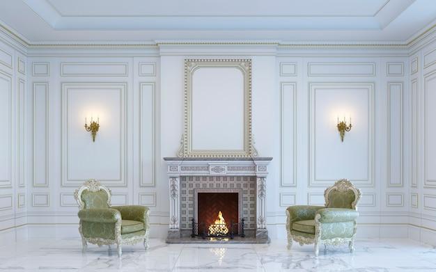 Een klassiek interieur is in lichte kleuren met open haard. 3d render.