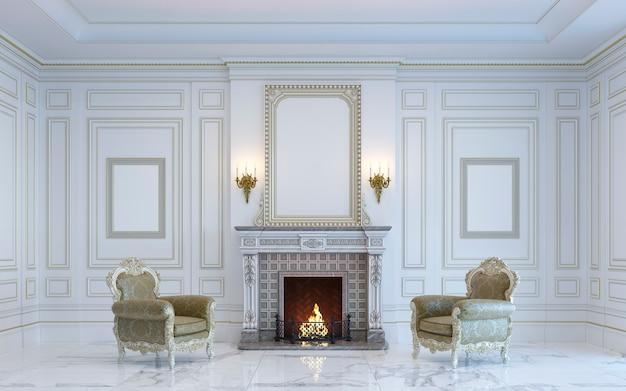 Een klassiek interieur is in lichte kleuren met open haard. 3d-rendering.