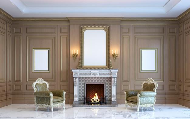 Een klassiek interieur met houten lambrisering en een open haard. 3d render.