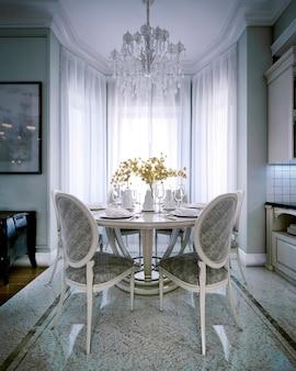 Een klassiek ontwerp van een eethoek met een ronde tafel en stoelen bij het raam