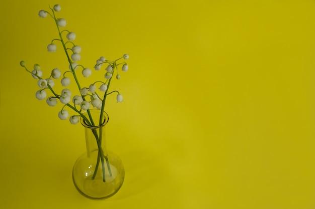 Een klein boeket van lelietje-van-dalen bloemen in een kleine glazen vaas op een gele achtergrond