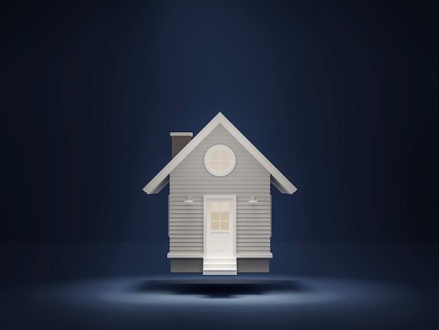 Een klein huis drijvend op een donkerblauwe achtergrond een licht schijnt van bovenaf 3d render