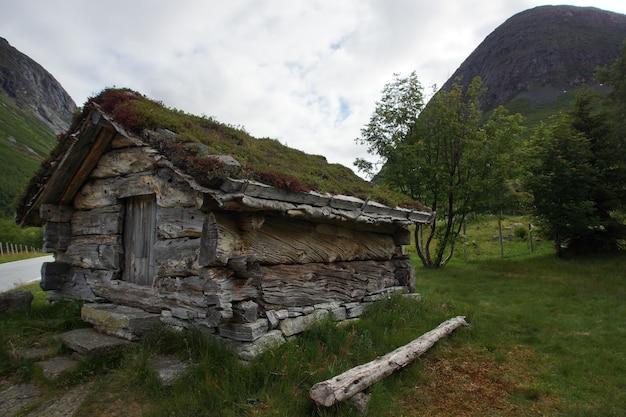 Een klein huis gemaakt van stammen van grote bomen, het aarden dak begroeid met gras, vlakbij de berg.
